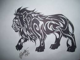 tribal lion tattoo stencil on paper tattooshunter com