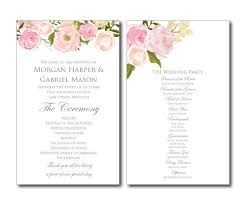 vintage wedding programs printable wedding program floral wedding program