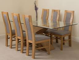 light oak dining room sets valencia oak 200cm wood and glass dining table with 6 stanford solid