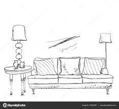 sketch room room interior sketch hand drawn sofa u2014 stock vector yuliia25