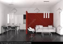 Wohnzimmer Esszimmer Modernes Interieur Mit Wohnzimmer Esszimmer Und Küche Stockfoto
