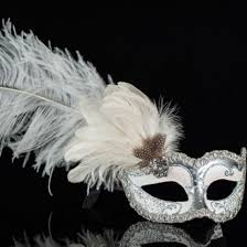 feather masks venetian columbina masquerade mask in silver white with feathers