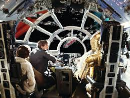star wars millennium falcon cockpit window with battle of zoom