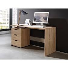 bureau amita 3 tiroirs 2 niches chêne clair achat vente bureau