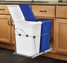 built in cabinet for kitchen decorating interesting plastick blue and white trash can built in