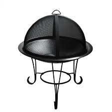 stainless steel cocktail fire pit w decorative steel stand