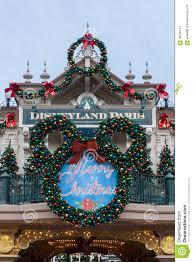 disneyland paris entrance on christmas editorial photo image