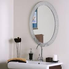 wall mirror oval broken glass edge effect frameless designer