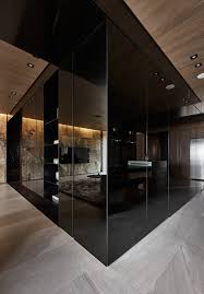 black acrylic glass and stone form this dark and sophisticated