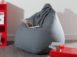 siege poire pouf poire 100 coton garnissage billes polystyrène d75x110cm gris
