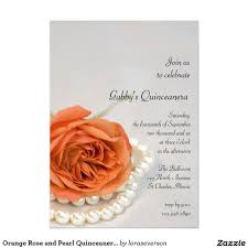 orange rose and pearl quinceanera party invitation invite guests