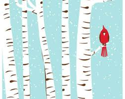 birch tree wrapping paper screenprint print poster autumn cardinal fall birch