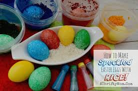 speckled easter eggs mess free easter eggs made with rice and food coloring a