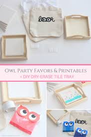 diy dry erase tile tray owl party favors and printables