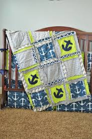 Grey And Green Crib Bedding Nautical Baby Crib Bedding For Baby Boy In Lime Green Navy Blue