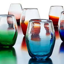web stemless wine glass set hand blown drinking glasses