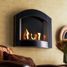 wall mounted gas fireplace heater with elegant black arch top wall