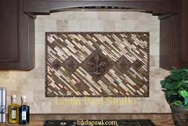 Fleur De Lis Backsplash Metal And Mosaic Tile Medallion - Kitchen medallion backsplash