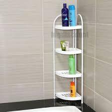 bathroom corner tower shelf plastic tray toiletries storage 4