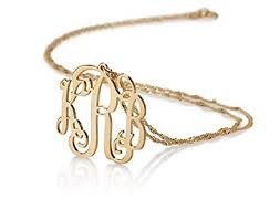 monogrammed pendant 14k gold monogram necklace personalized name necklace