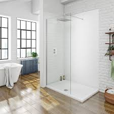 mode luxury 8mm walk in shower glass panel with shower tray 1200 x