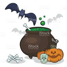 witch cauldron with a potion pumpkin bat withes bowl and other
