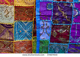 colored scarf several decorations drawings middle stock photo