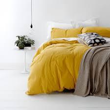 european vintage wash cotton quilt cover set mustard yellow