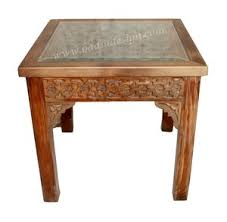 carved wood coffee table moroccan square shaped carved wood side table with glass top from