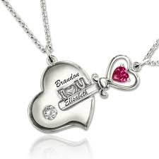 couples necklace heart puzzle birthstone necklace set