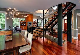Open Staircase Ideas Dining Room Contemporary With Upholstered - Contemporary pendant lighting for dining room