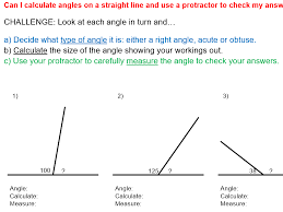 name calculate and measure angles on a straight line