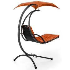 Orange Chair by Best Choice Products Hanging Chaise Lounger Chair Arc Stand Air