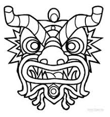 free chinese dragon mask color print cardstock
