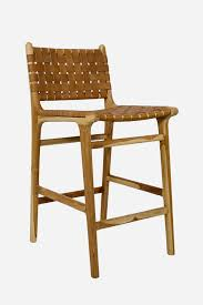 Leather Bar Stool With Back Love Love Love Leather Strapping Stool With High Back Teak U0026 Tan