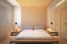 Wooden Wall Bedroom Bedroom Bedroom With Light Wood Slats Accent Walls Features Modern
