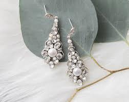 rose gold wedding earrings chandelier bridal earrings