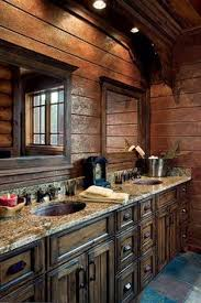 log cabin bathroom ideas copper sink yes granite counter yes wooden sink base yes log