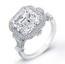 estate engagement rings uneek estate 5 carat asscher platinum engagement ring
