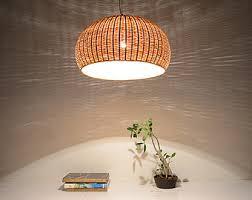 Bamboo Ceiling Light Bamboo Basket L Etsy