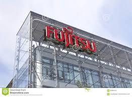fujitsu logo fujitsu company logo on headquarters building editorial image
