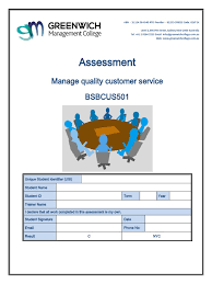 assessment manage quality customer service bsbcus501 pdf