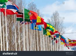 Flags Of Nations National Flags Park Nations Lisbon Portugal Stock Photo 189725087