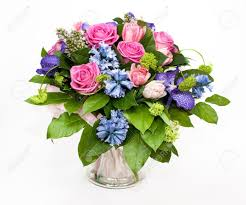 bouquet of lilas and roses in glass vase stock photo picture and