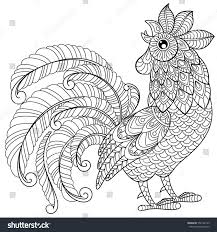 rooster zentangle style symbol chinese new stock vector 550142125