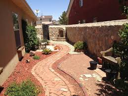 eclectic landscape and yard with pathway u0026 exterior brick floors