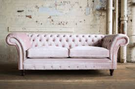 Chesterfield Sofa Cushions Modern Handmade 3 Seater Cushion Seat Plush Dusty Pink Velvet