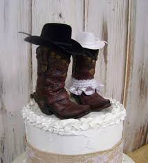 rustic cake topper his and her western cowboy boots wedding cake