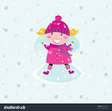 christmas pink costume making snow stock vector 67035835