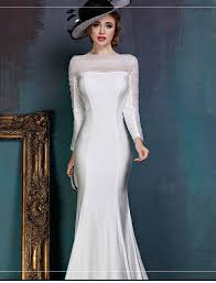 long sleeves formal evening dress